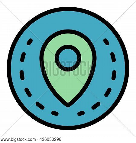 Circle Location Pin Icon. Outline Circle Location Pin Vector Icon Color Flat Isolated