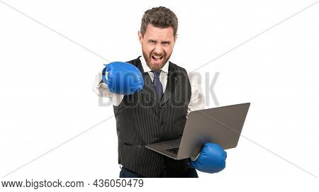 Angry Man Punching With Fist In Boxing Glove Hold Computer, Anger