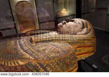 Turin, Italy - August 19, 2021: Pharaoh Sarcophagus Wooden Coffin And Mummification During The Egypt