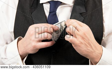 Cropped Guy In Hold Hundred Dollar Isolated On White Background, Bribe