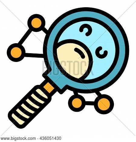 Chemical Magnify Glass Icon. Outline Chemical Magnify Glass Vector Icon Color Flat Isolated