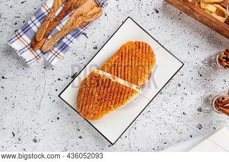Fresh Grilled Panini Caesar On Light Background