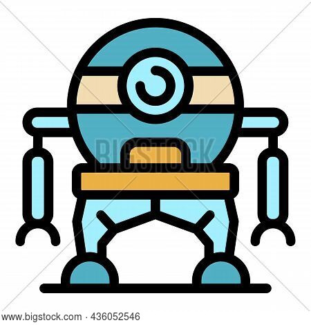 One Eye Robot Icon. Outline One Eye Robot Vector Icon Color Flat Isolated