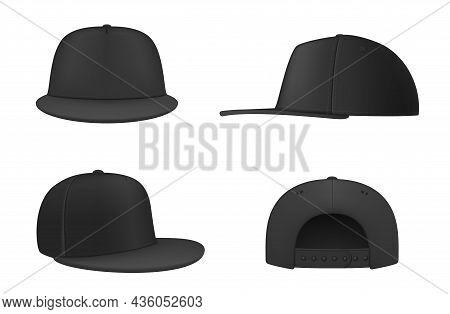 Realistic Black Rap Cap With Straight Visor Set Vector Illustration Hip Hop Fashion Headdress