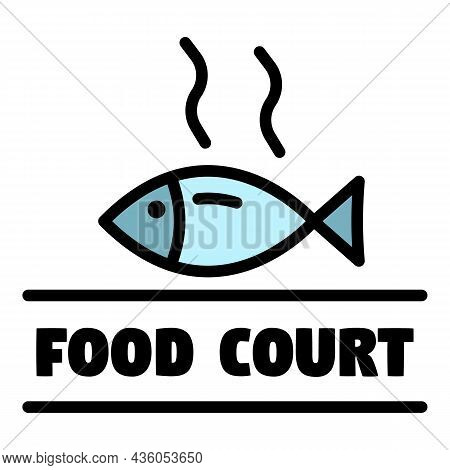 Food Court Logo. Outline Food Court Vector Logo Color Flat Isolated