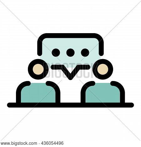 Dialogue Between Two People Icon. Outline Dialogue Between Two People Vector Icon Color Flat Isolate