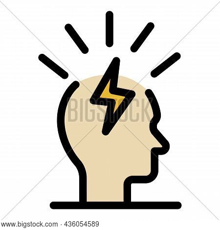 Lightning In The Head Icon. Outline Lightning In The Head Vector Icon Color Flat Isolated