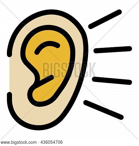 Ear Listening Icon. Outline Ear Listening Vector Icon Color Flat Isolated