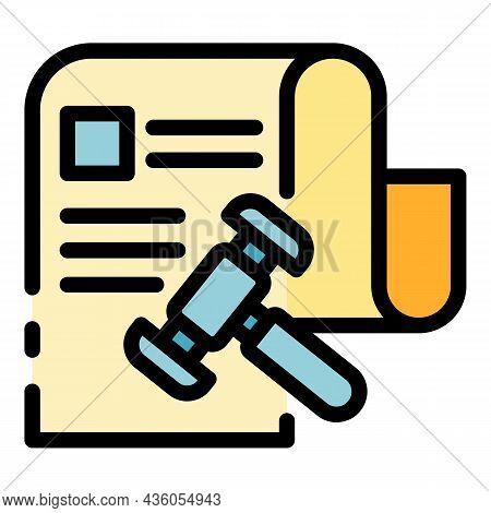 Court Verdict Icon. Outline Court Verdict Vector Icon Color Flat Isolated