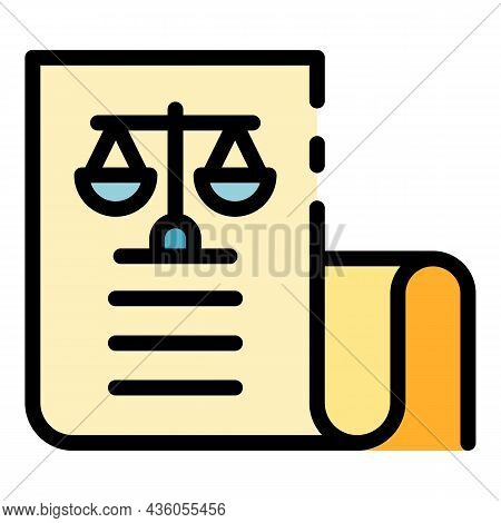 Code Of Laws On Paper Icon. Outline Code Of Laws On Paper Vector Icon Color Flat Isolated