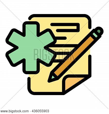 Medical Form Icon. Outline Medical Form Vector Icon Color Flat Isolated