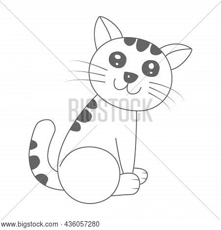 Contour Silhouette Of A Cute Cat. A Beautiful Cute Cat Is Sitting On Its Hind Legs. Flat Style.
