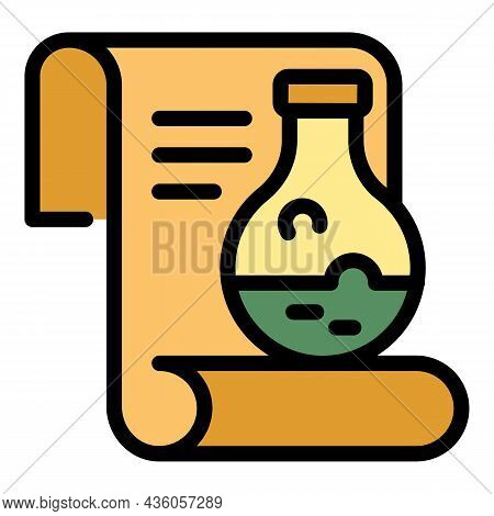 Recipe And Flask Icon. Outline Recipe And Flask Vector Icon Color Flat Isolated