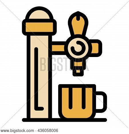 Beer Mug Under The Tap Icon. Outline Beer Mug Under The Tap Vector Icon Color Flat Isolated
