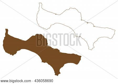 St. Lawrence Island (united States Of America, North America, Alaska, Us, Usa, Bering Sea) Map Vecto