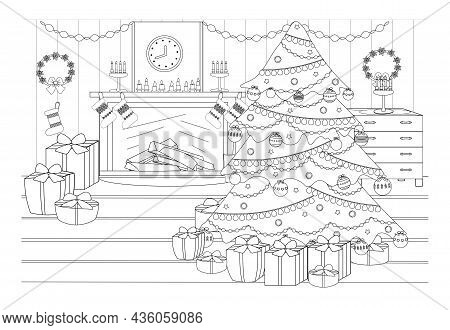 Coloring Book On The Theme Of Christmas And New Year. On The Eve Of The Holiday, The Ball. Cozy Livi