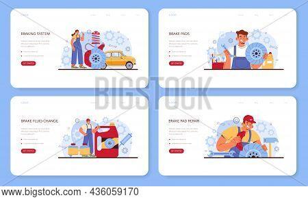 Car Repair Service Web Banner Or Landing Page Set. Automobiles Brake
