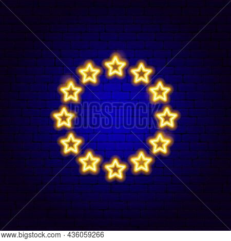 Euro Union Neon Sign. Vector Illustration Of Promotion.