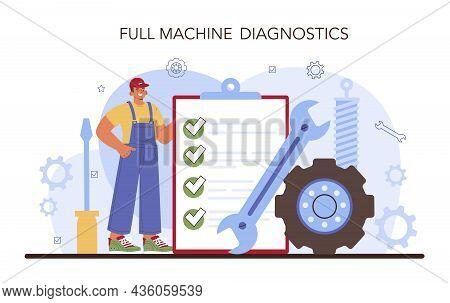 Car Repair Service. Automobile Got Fixed In Car Workshop. Mechanic