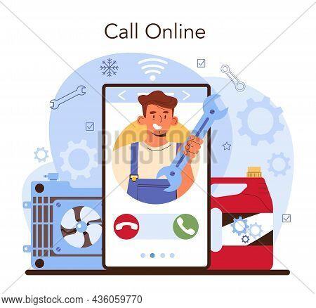 Car Repair Service Online Service Or Platform. Automobile Cooling