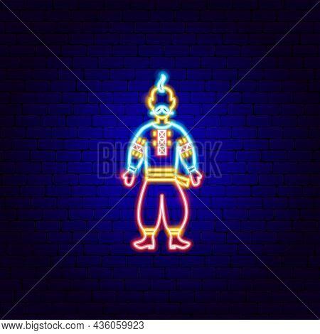 Kozak Neon Sign. Vector Illustration Of Ukraine Promotion.