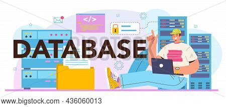 Data Base Typographic Header. Manager Working At Data Center
