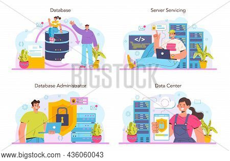 Data Base Administrator Concept Set. Manager Working At Data Center.