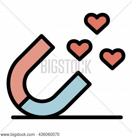 Like Magnet Icon. Outline Like Magnet Vector Icon Color Flat Isolated