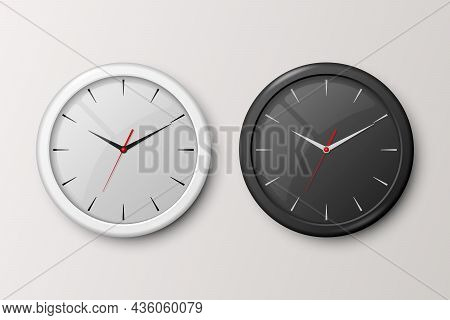 Vector 3d Realistic White And Black Wall Office Clock Set Isolated. White And Black Dial. Design Tem