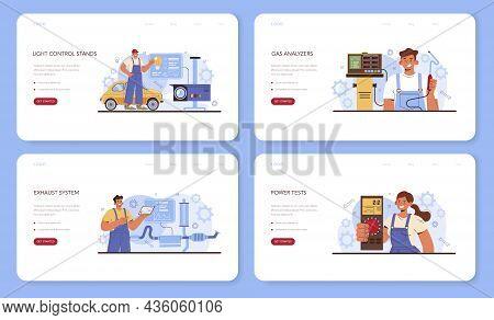 Car Repair Service Set. Automobile Service Diagnostic Equipment.