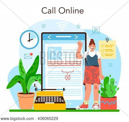 Publishing Editor Online Service Or Platform. Journalist Working
