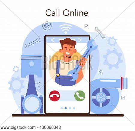 Car Repair Service Online Service Or Platform. Automobile Mechanic