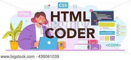 Html Coder Typographic Header. Website Development Process. Digital