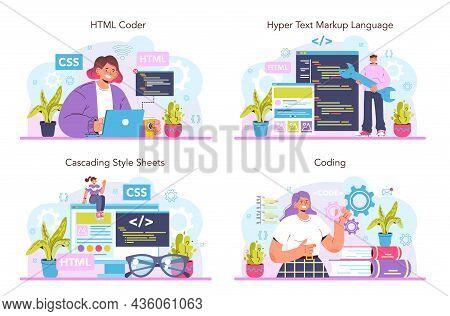Website Development Set. Html Coding Process. Digital Specialist