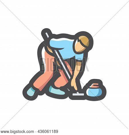 Curling Player Athlete Vector Icon Cartoon Illustration
