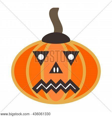 Decorative Orange Pumpkin Carved As Jack-o'-lanterns For Decoration Around Halloween. American Tradi