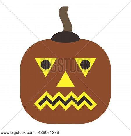 Halloween Pumpkin Icon. Autumn Symbol. Sad Glowing Face Of Vegetable. Winter Squash Wards Off Evil S