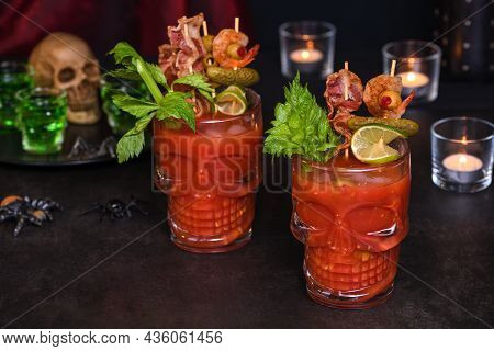Creepy Halloween Party - Caesar Or Bloody Mary Cocktail Containing Vodka, Some Tomato Juice, Differe