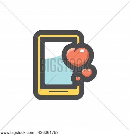 Phone Hearts Likes Vector Icon Cartoon Illustration