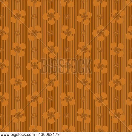 Abstract Buddleia Blossom And Stripes Seamless Vector Pattern Background. Monochrome Ochre Backdrop