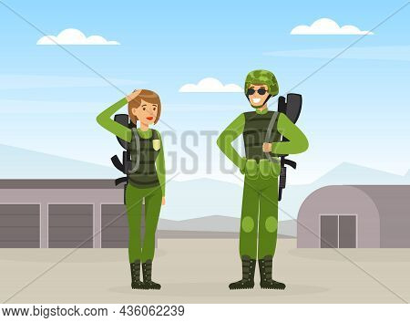 Man And Woman As Military Special Force In Uniform And Rifle Saluting Vector Illustration