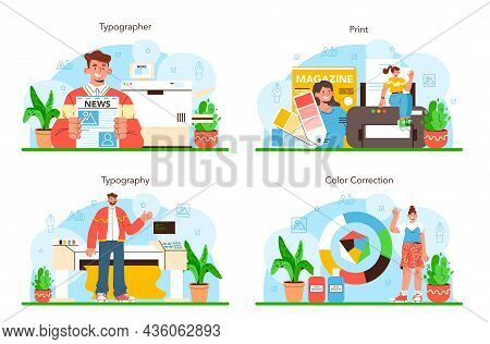 Book, Newspaper Or Magazine Printing Set. Printing House Technology