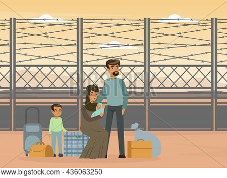 Refugee And Asylum Seeker With Displaced Young Family Needed Help And Home Vector Illustration