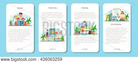 Publisher Mobile Application Banner Set. Editor Working On Book