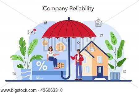 Real Estate Advantages Concept. Reliable Real Estate Agent Or Broker