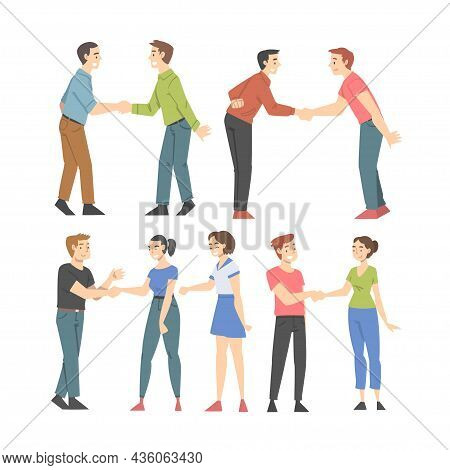 People Character Shaking Hand As Brief Greeting Or Parting Tradition Vector Set
