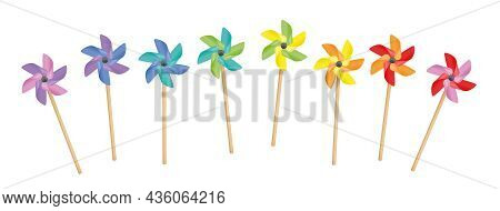 Pinwheels - Colorful Rainbow Set, Loosely Arranged, Spinning Toys With Wooden Sticks. Isolated Vecto