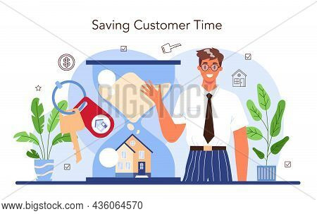 Real Estate Industry. Qualified Real Estate Agent Or Broker Helps A Customer