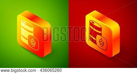 Isometric Metal Beer Keg Icon Isolated On Green And Red Background. Square Button. Vector