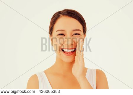 Pretty Face Woman : Portrait Young Asian Women, Hands Touching Faces, Beautiful, Clean And Smiling,